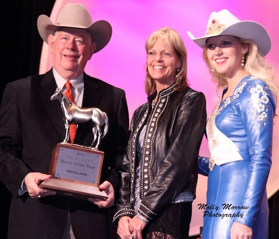 Award ceremony, NFR 2012, for AQHA Barrel Racing Horse of the Year to Percolatin
