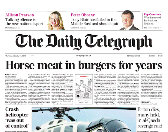 Daily Telegraph: Horse meat in burgers for years