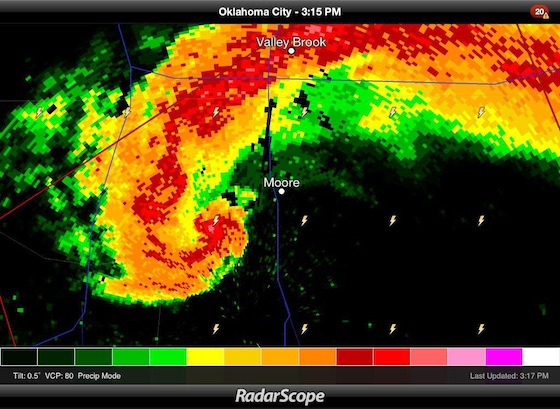 Moore, Oklahoma tornado on radar