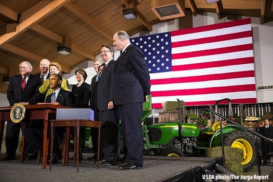 President Obama signs Farm Bill in McPhail Center dressage arena