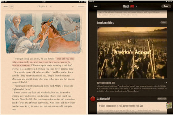 Sample pages from the War Horse story app
