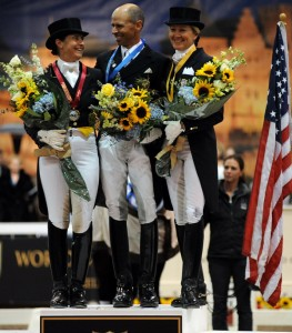 WDM winner Steffen Peters on the winners' podium with runner-up Tinne Vilhelmson-Silfve of Sweden (left) and Tina Konyot of the U.S., third