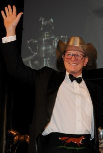 Jim Wofford wore the Jimmy Williams silver hat trophy as he accepted the USEF's Lifetime Achievement Award