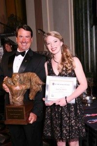 Sascha Mills receiving the 2011 USEF Youth Sportsman's Award from USEF President David O'Connor. Photo courtesy USEF Archive/Geoff Bugbee.