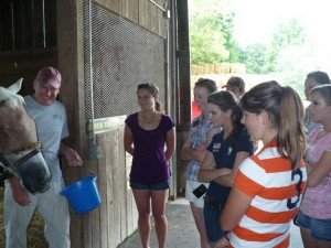 youth career workshop attendees taking an educational tour of the Old Friends Retirement Farm. Photo courtesy USEF staff.
