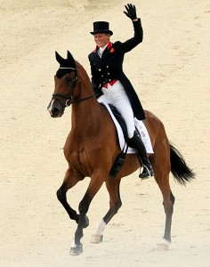 Great Britain's Mary King, third with Imperial Cavalier, got a great reception from the home team's fans