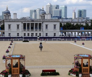 Tiana Coudray of the U.S. on Ringwood Magister against the backdrop of the London skyline and Queen's House