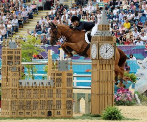 Iconic show jumping fences with British flair included the ornate replica of the Houses of Parliament and Big Ben (photo copyright 2012 by Nancy Jaffer)