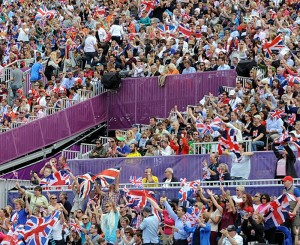 The Brits went crazy with their flags when their team won (photo copyright 2012 by Nancy Jaffer)