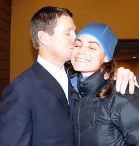 McLain Ward gives his wife, Lauren, a post-grand prix kiss