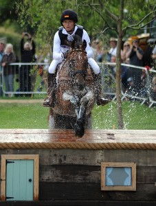Olympic double-gold eventing medalist Michael Jung of Germany, who is also the European and world champion, aboard Sam on cross-country.