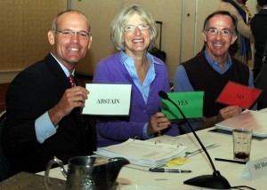 USHJA President Bill Moroney, Hunter Vice President Mary Babick and Jumper Vice President David Distler show the board of directors is open to all opinions.