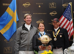 World Dressage Masters winner Tinne Vilhelmson-Silfven with runner-up Patrik Kittel and third-place Steffen Peters