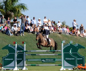 The vast derby field on a gorgeous Florida afternoon was a perfect setting for Brianne Goutal to win the $50,000 grand prix on her reliable mount, Onira.