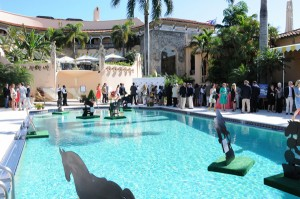 The pool at glamorous Mar-A-Lago featured floating horses in honor of the Invitational