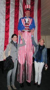 Lorraine Ferrell and Adrienne Straus meet Uncle Sam at a U.S. pep rally sponsored by the U.S. Equestrian Team Foundation and the U.S. Equestrian Federation