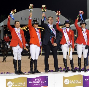 The U.S. winning Nations' Cup team: Kent Farrington, Beezie Madden, coach Robert Ridland, Reed Kessler, Laura Kraut